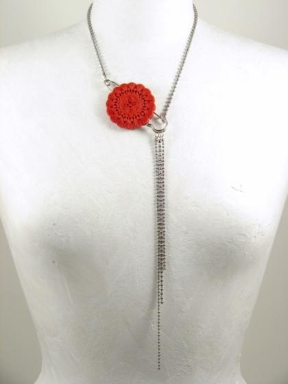 Red Cinnabar Asymmetrical Necklace
